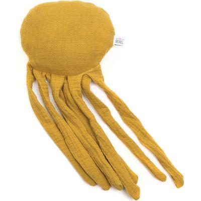 Doudou bouillotte pieuvre jaune moutarde  par BEBEL