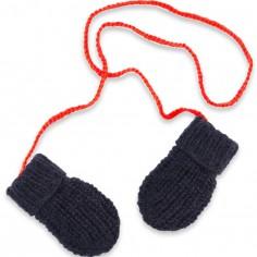 Moufles Fernand tricotées main bleu et rouge (3-12 mois : 50 à 68 cm)