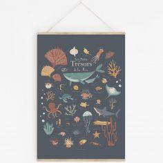 Affiche A3 Les petits trésors de la mer bleue avec support