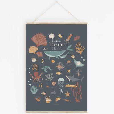 Affiche A3 Les petits trésors de la mer bleue avec support  par Lutin Petit Pois