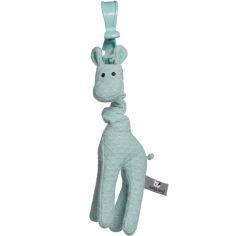 Peluche vibrante girafe à suspendre vert d'eau