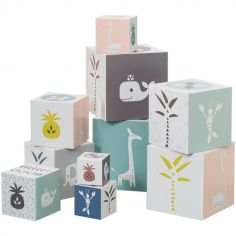 Cubes empilables Animaux roses (10 cubes)