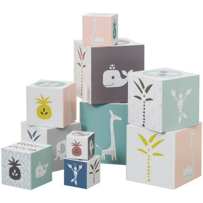 Cubes empilables Animaux roses (10 cubes) Fresk