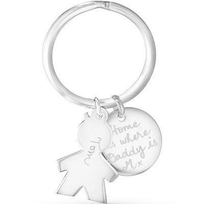 Porte-clés personnalisable 1 enfant (argent 925°) Merci Maman