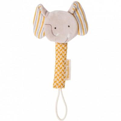 Attache sucette éléphant Les papoum  par Moulin Roty