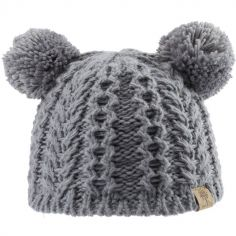 Bonnet en tricot 2 pompons gris (0-6 mois)