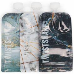 Lot de 3 gourdes réutilisable Squeeze bag marbre (220 ml)