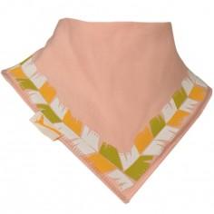Bavoir bandana Collier de plumes rose