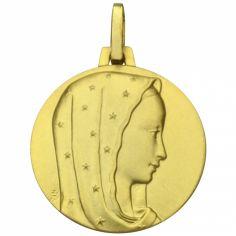 Médaille ronde Vierge au voile étoilé 18 mm (or jaune 750°)