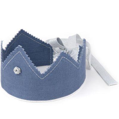 Couronne en lin bleu denim et argenté  par Cotton&Sweets