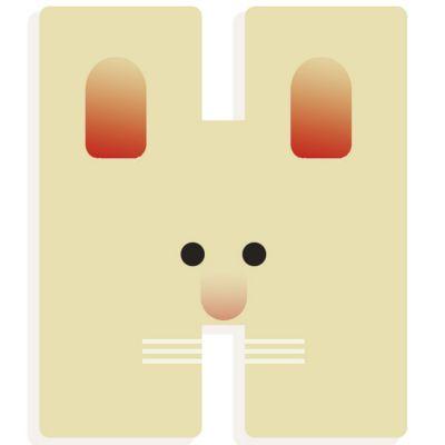 Lettre décorative lapin H  par Djeco