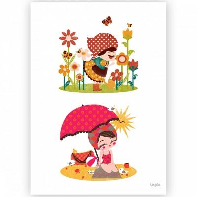 Affiche A4 Les 4 saisons printemps été  par Kanzilue