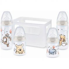 Coffret de naissance casier et 4 biberons First Choice + Winnie (150 et 300 ml)