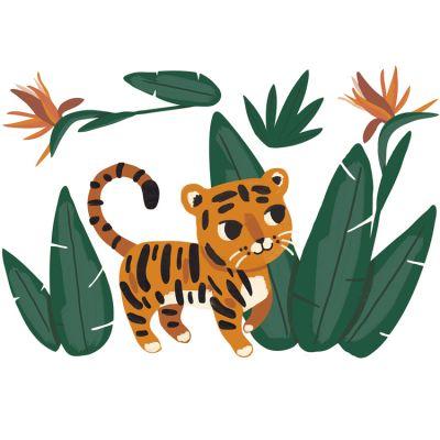 Grand sticker Jungle night jungle et tigre (95 x 64 cm)