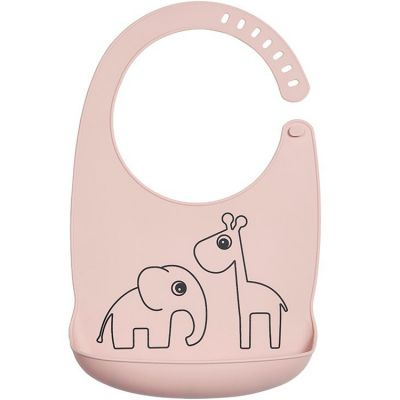 Bavoir silicone avec poche Deer friends rose  par Done by Deer
