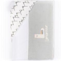 Parure drap de berceau + taie d'oreiller grise Lamamour (84 x 120 cm)