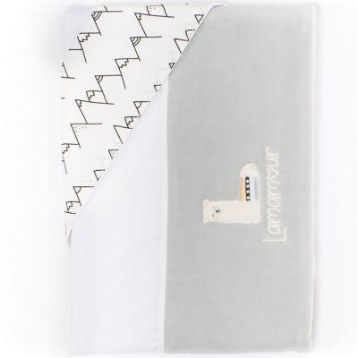 Parure drap de berceau + taie d'oreiller grise Lamamour (84 x 120 cm)  par Nougatine
