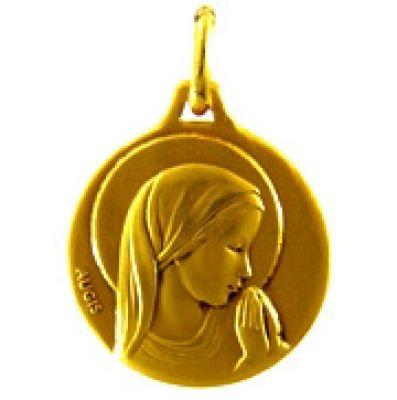 Médaille ronde Vierge profil droit auréolée 16 mm (or jaune 750°)