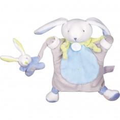 Doudou marionnette lapin bleu (24 cm)