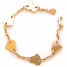 Bracelet Les Evolutifs 13,5 cm 5 petits coeurs 7 mm (or jaune 750°)