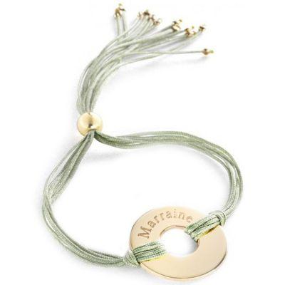 Bracelet cordon de soie Rainbow jeton (plaqué or)  par Petits trésors