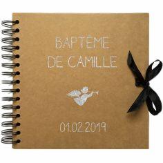 Album photo baptême personnalisable kraft et argent (30 x 30 cm)