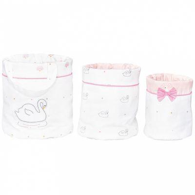 Lot de 3 paniers de toilette cygne Baby Swan (18 x 21 cm)  par Sauthon