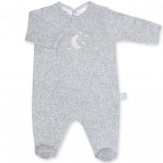 Pyjama léger terry Bmini gris à points tom (0-3 mois : 50 à 60 cm)