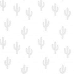 Papier peint motif cactus gris (10 m)