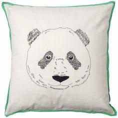 Coussin carré brodé tête de panda (50 x 50 cm)