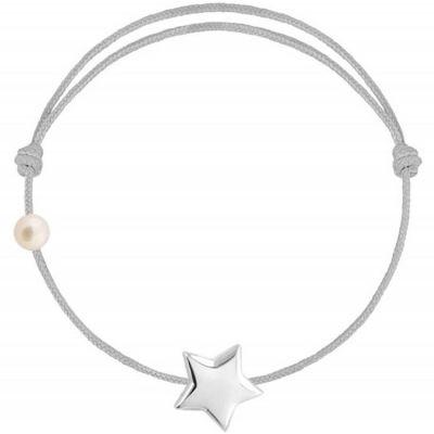Bracelet cordon Etoile et perle gris (or blanc 750°)  par Claverin