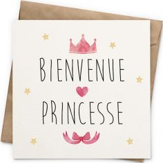 Carte Bienvenue princesse (13 x 13 cm)