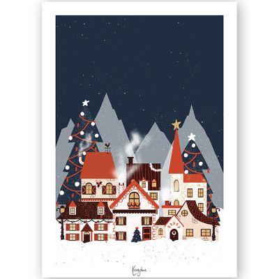 Affiche A4 Village de Noël  par Kanzilue