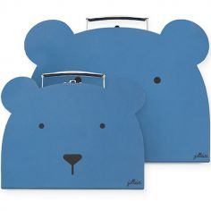 Lot de 2 valisettes décoratives ours bleu