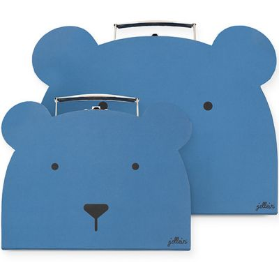 Lot de 2 valisettes décoratives ours bleu  par Jollein