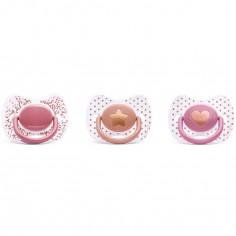 Lot de 3 sucettes anatomiques Couture en silicone fille (0-4 mois)