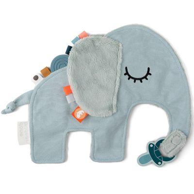 Doudou attache sucette éléphant bleu Elphee  par Done by Deer