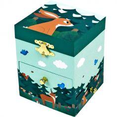 Boîte à bijoux musicale phosphorescente Lapin dans la Forêt