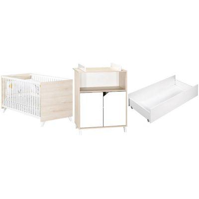 Pack trio Scandi naturel lit bébé évolutif avec tiroir et commode à langer Baby Price