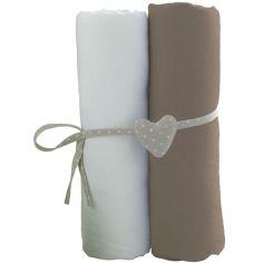 Lot de 2 draps housses blanc et taupe (70 x 140 cm)