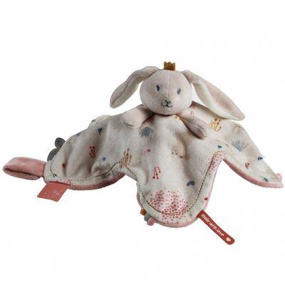 Doudou attache sucette à étiquette lapin Lina & Joy  par Noukie's