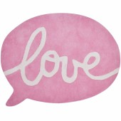 Tapis coton bulle rose love Inspiring words by Sophie Cordier (90 x 65 cm) - Lilipinso