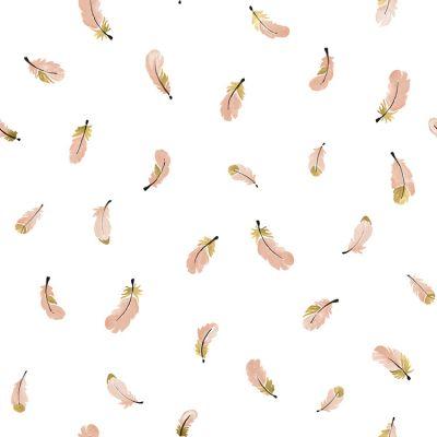 Papier peint intissé Flamingo Plumes roses by Lucie Bellion (10 m)  par Lilipinso