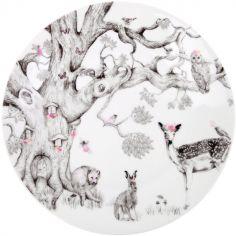 Assiette en porcelaine avec ventouse Forêt enchantée