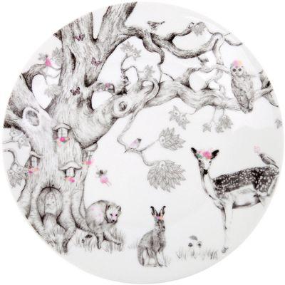 Assiette en porcelaine avec ventouse Forêt enchantée  par Love Maé