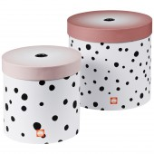 Lot de 2 boîtes de rangement rondes Happy Dots pois rose - Done by Deer