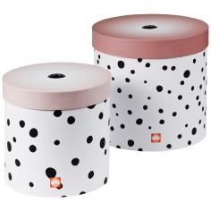Lot de 2 boîtes de rangement rondes Happy Dots pois rose