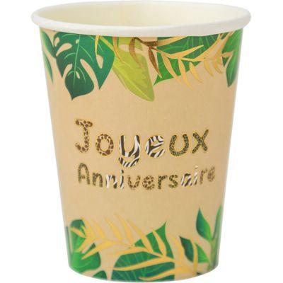 Lot de 8 gobelets en carton anniversaire Safari Graou