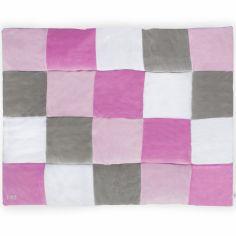 Tapis de jeu patchwork rose et gris (100 x 140 cm)