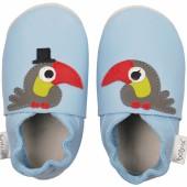 Chaussons en cuir Soft soles toucan bleu (3-9 mois) - Bobux
